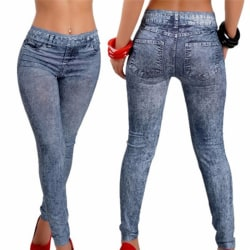 Women Fashion Stretch Plus Jeans Lady's Denim Faux Jean Pants Se Blue