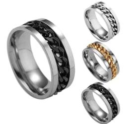 Women Mens Steel Rotatable Chain Band Ring Finger Spinner Ring T Gold 8