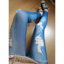 Women Ripped Denim Jean Look Skinny Leggings Slim Jeggings Trous Blue