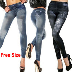 Women's Fashion New Sexy Skinny Leggings Jeans Jeggings Stretchy Blue Free Size