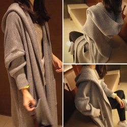 Women Sweater Knitted Hooded Long Sleeve Cardigan Casual Loose O Gray M
