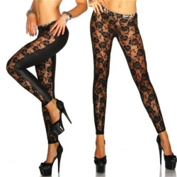 Womens Black Rose Vine Sheer Stretchy Floral Lace Leggings Tight Black One Size