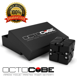OCTOCUBE Infinity Infinite Fidget Cube Evighetskub - Svart Gummi Svart Gummi - Svart Gift Box