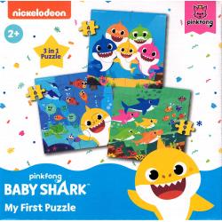 3 i 1 Baby Shark My First Puzzle 4, 6 och 9  Bitar Pussel  MultiColor