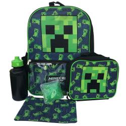 5-Pack Minecraft Ryggsäck Skolväska Med Vattenflaska Lunchväska  grå one size