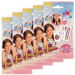 5-Pack Soy Luna Tattoo Mini Tatueringar Glitter Nagel Dekoration Rosa