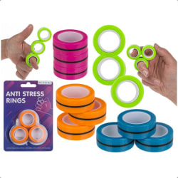 9-Pack Magnetiska Anti Stress Ringar Stressringar  multifärg