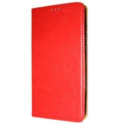 Äkta Läder Book Slim Huawei Y6 (2018) Plånboksfodral Röd Röd