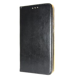 Äkta Läder Book Slim iPhone 12/12 Pro Plånboksfodral Svart Svart
