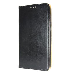 Äkta Läder Book Slim Samsung Galaxy S10E Plånboksfodral Svart Black