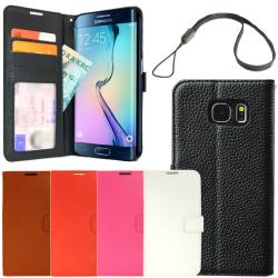 Äkta läderfodral plånbok Samsung Galaxy S6 Edge ID/Foto ficka Svart