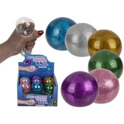 Anti-stress Squeeze Glitter Boll 7cm multifärg