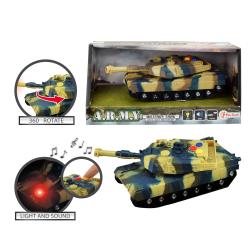 ARMY Militär Tank Stridsvagn Friction 17cm Med Ljud & Ljus multifärg