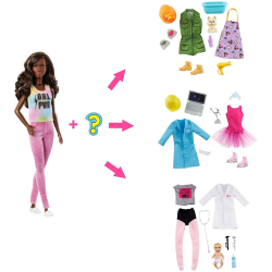 Barbie Surprise Doll Brunette with 2 Career Looks And Accessorie multifärg