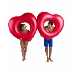 Bigmouth Uppblåsbar Flytande Lounge Badring Två Hjärtan 220cm  multifärg