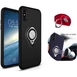 Colorfone iPhone X/Xs Case Svart Skal Med Ring och Metallplatta Svart