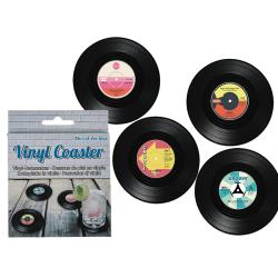 Coola Vinyl Glasunderlägg Form Av Retro LP-Skiva 4-Pack B-Sort. Black