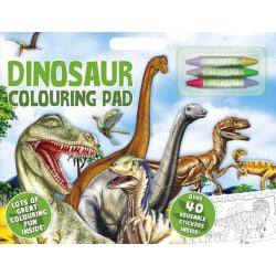 Dinosaur Stor A3 Målarbok Klistermärken & Kritor multifärg