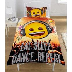 Emoji Eat Sleep Dance Påslakanset Bäddset Vändbart 135 x 200 cm Gul