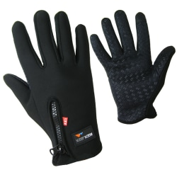 Fleece Fodrade Sport Herr Handskar Med Touch Funktion  Svart Black one size
