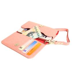 Plånboksfodral Handväska iPhone SE/5S/5/5C/4S + Handledsrem Ljusrosa