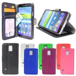 Plånboksfodral  Samsung Galaxy S5 / S5 NEO  lycheeläder ID/foto  Svart