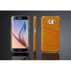 Plånboksfodral/Skal Samsung Galaxy S6 Med 2st Korthållare Gul