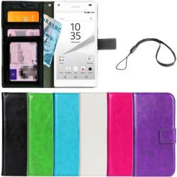 Plånboksfodral Sony Xperia Z5 Compact ID Ficka + Handlovsrem Röd