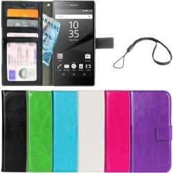 Plånboksfodral Sony Xperia Z5 ID/Foto Ficka + Handlovsrem Svart
