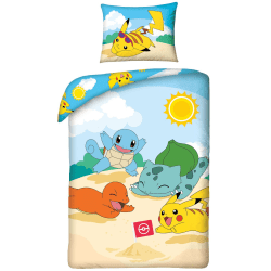 Pokemon Beach Påslakanset Bäddset  140x200+70x90cm multifärg