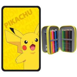 Pokémon Pikachu Pika 40-delars Pennskrin Trippel Pennset Skolset Gul one size