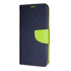 Samsung Galaxy A6 Plånboksfodral Fancy Case Navy-Lime Mörkblå