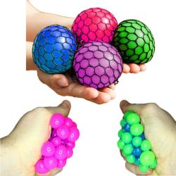 2-Pack Stora Stressbollar I Nät Klämboll Antistress Olika Färger multifärg
