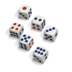 Tärningar 6-Pack, Yatsy, spel Vit