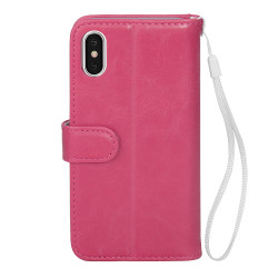 TOPPEN iPhone X/Xs Plånboksfodral Med ID Ficka Wallet Case/Cover Rosa