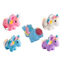 Unicorn Nyckelring Bajsande Enhörning Kläm Leksak Squeeze Slime  Lila