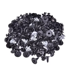 100Pcs Plastic Mixed Screw Rivet Clip Fastener Set For Car Trunk Black