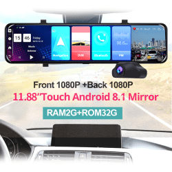 "12""Android 8.1 4G WIFI GPS Rear View Mirror Dash Video Recorder  1080P"