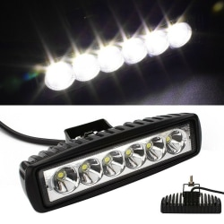 18W 6inch LED Work Light Bar Flood Lamp Offroad Driving Fog 4WD  Black