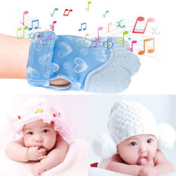 1pc Silicone Baby Mitt Teething Mitten Glove Gum Candy Color Cri Blue