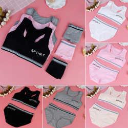 1set young girl training bras puberty children sport underwear  Gray