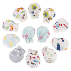 3Pcs newborn protection face cotton mittens fashion baby cartoon one size