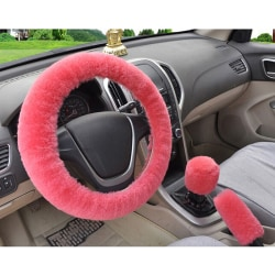 3Pcs/set Winter pink soft warm plush car steering wheel cover h One Size