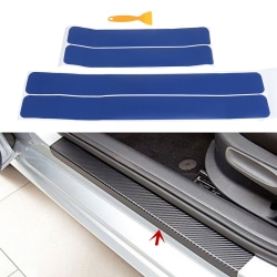 4Pcs/set Blue car door sill scuff welcome pedal protect carbon f One Size