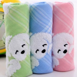 Cotton baby soft hand towel infant cartoon handkerchief towelsch Blue One Size