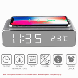 Electric Led Alarm Clock With Phone Wireless Charger Desktop Dig onesize