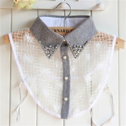 Elegant False Collar Women Grey Diamond Detachable Shirt Sweate White One Size