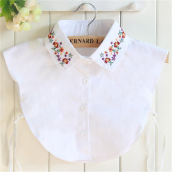 Embroidery Detachable Collar Thick Shirt Casual Fake Collar Dec White One Size