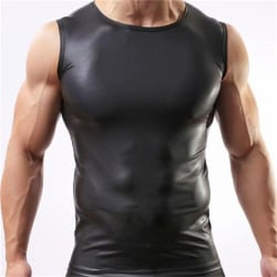 Fashion Men Sexy Vest Faux Leather Black Male Tank Tops Underwe L