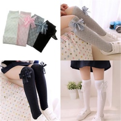 Girl Classic Kids Cotton Socks Tights School High Knee Gridding Pink 35CM